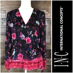 INC International Concepts Floral Print Wrap L